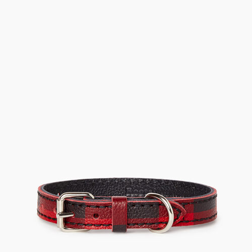 Roots-Leather Leather Accessories-Extra Small Leather Dog Collar-Cabin Red-A