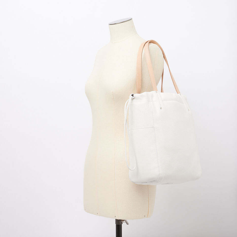 Roots-Winter Sale Leather-Drawstring Tote Prince-White-B