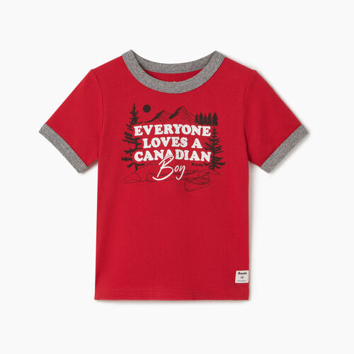 Roots-Kids New Arrivals-Toddler Canadian Boy Ringer T-shirt-Sage Red-A