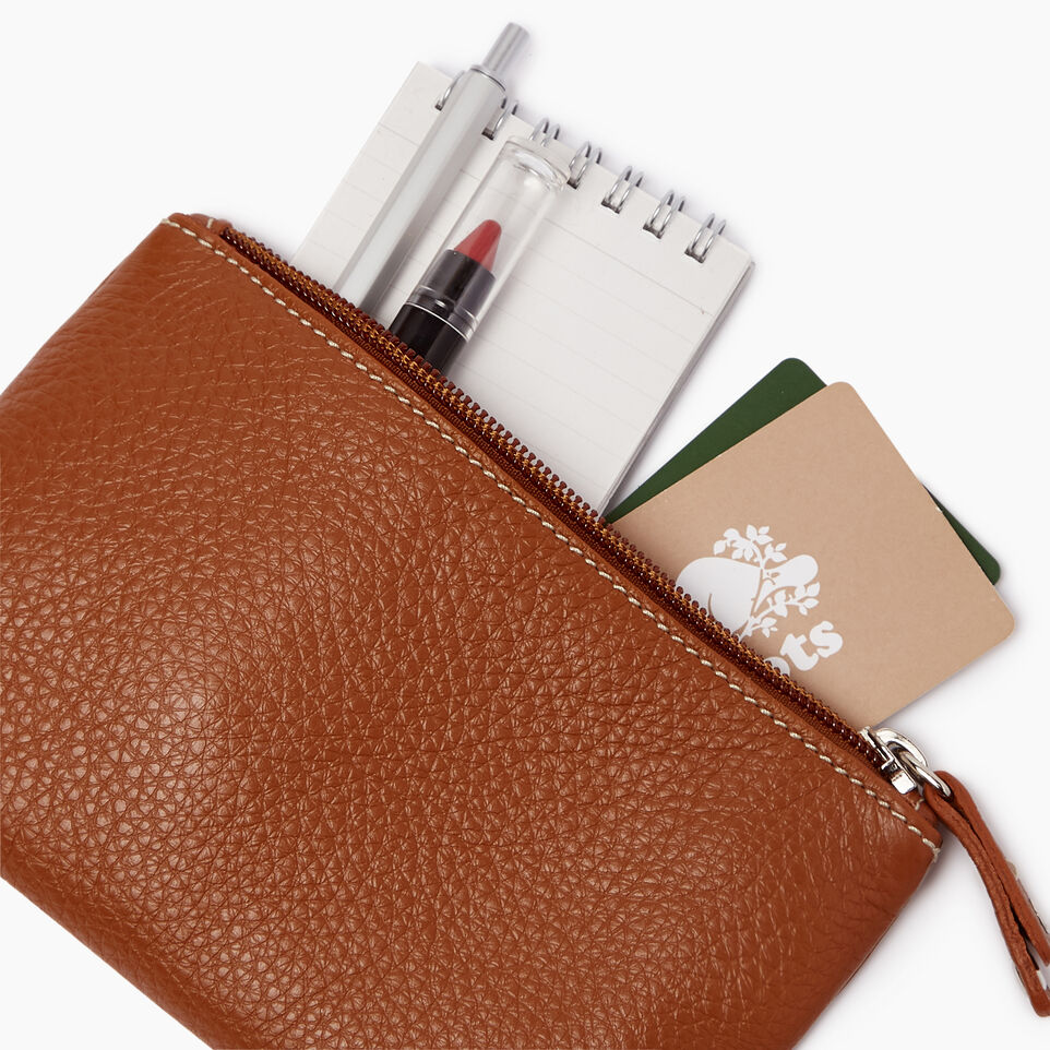 Roots-Leather Categories-Medium Zip Pouch-Caramel-B