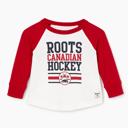 Roots-Clearance Baby-Baby Hockey Raglan T-shirt-Cabin Red-A