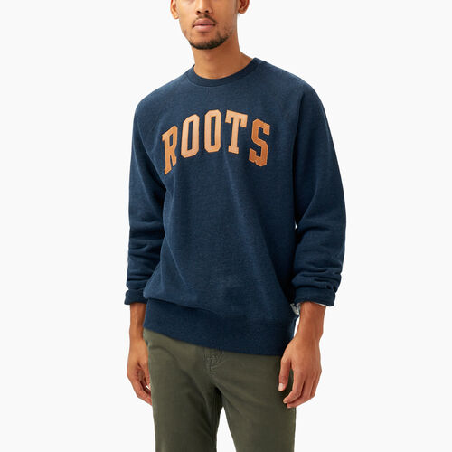 Roots-Winter Sale Men-Roots Arch Crewneck Sweatshirt-Navy Blazer Mix-A