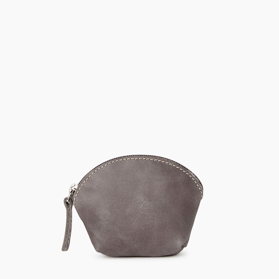 Roots-Women Leather Accessories-Small Euro Pouch-Charcoal-A