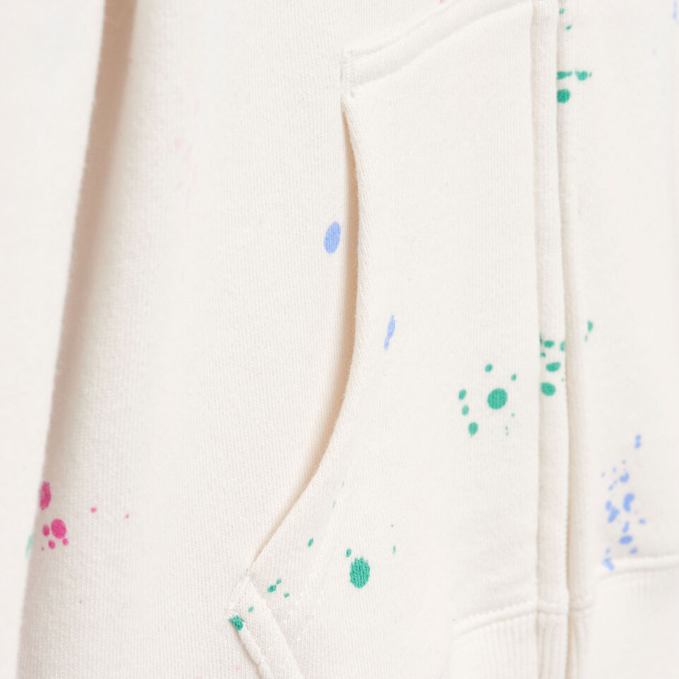 Roots-Clearance Kids-Girls Splatter Full Zip Hoody-Cannoli Cream-E