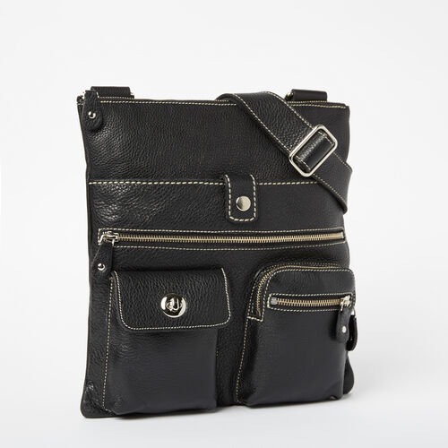 Roots-Leather Roots Original Flat Bags-Venetian Village Prince-Black-A
