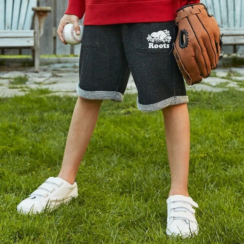 Roots-Kids New Arrivals-Boys Park Short-Black Pepper-A