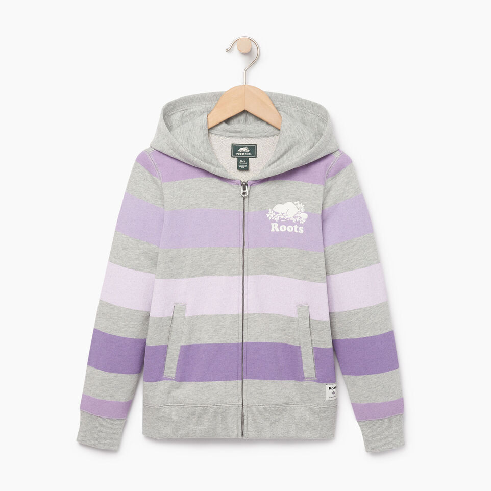 Roots-Kids New Arrivals-Girls Ombre Stripe Full Zip Hoody-Grey Mix-A