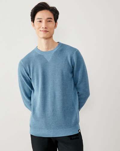 Roots-Men New Arrivals-Journey Coolmax Crew Sweater-Kenora Blue Mix-A