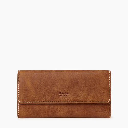 Roots-Leather Our Favourite New Arrivals-Medium Trifold Clutch Tribe-Natural-A