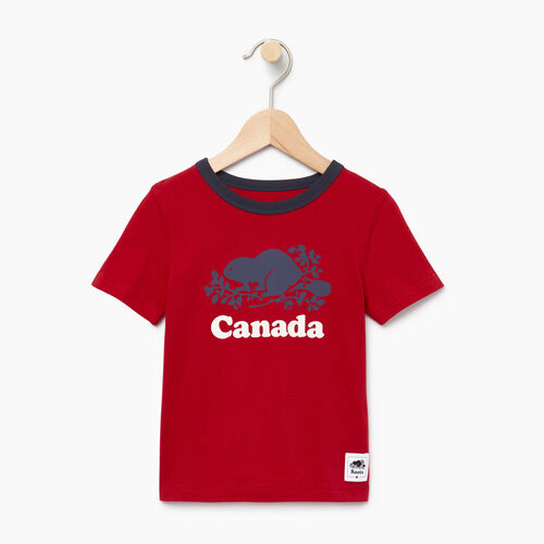Roots-Kids Canada Collection-Toddler Cooper Canada Ringer T-shirt-Sage Red-A