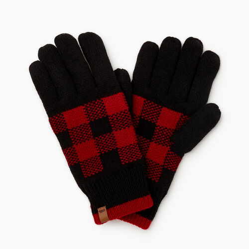 Roots-Men New Arrivals-Park Plaid Knit Glove-Cabin Red-A