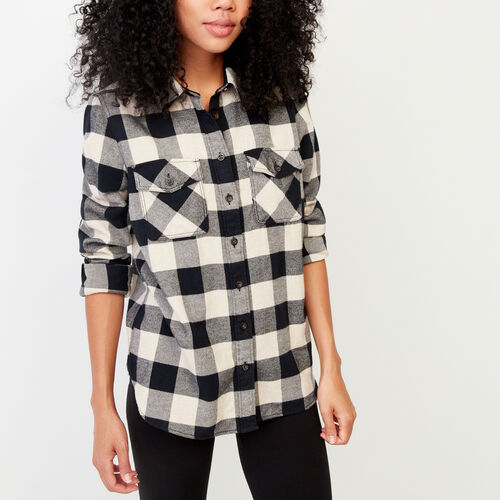 Roots-Winter Sale Women-Park Plaid Shirt-Black-A