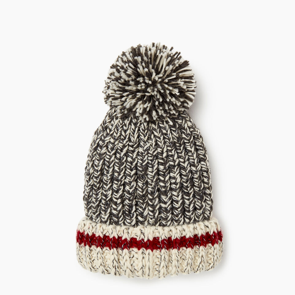 Roots-Women Hats-Chunky Cabin Pom Pom Toque-Grey Oat Mix-D