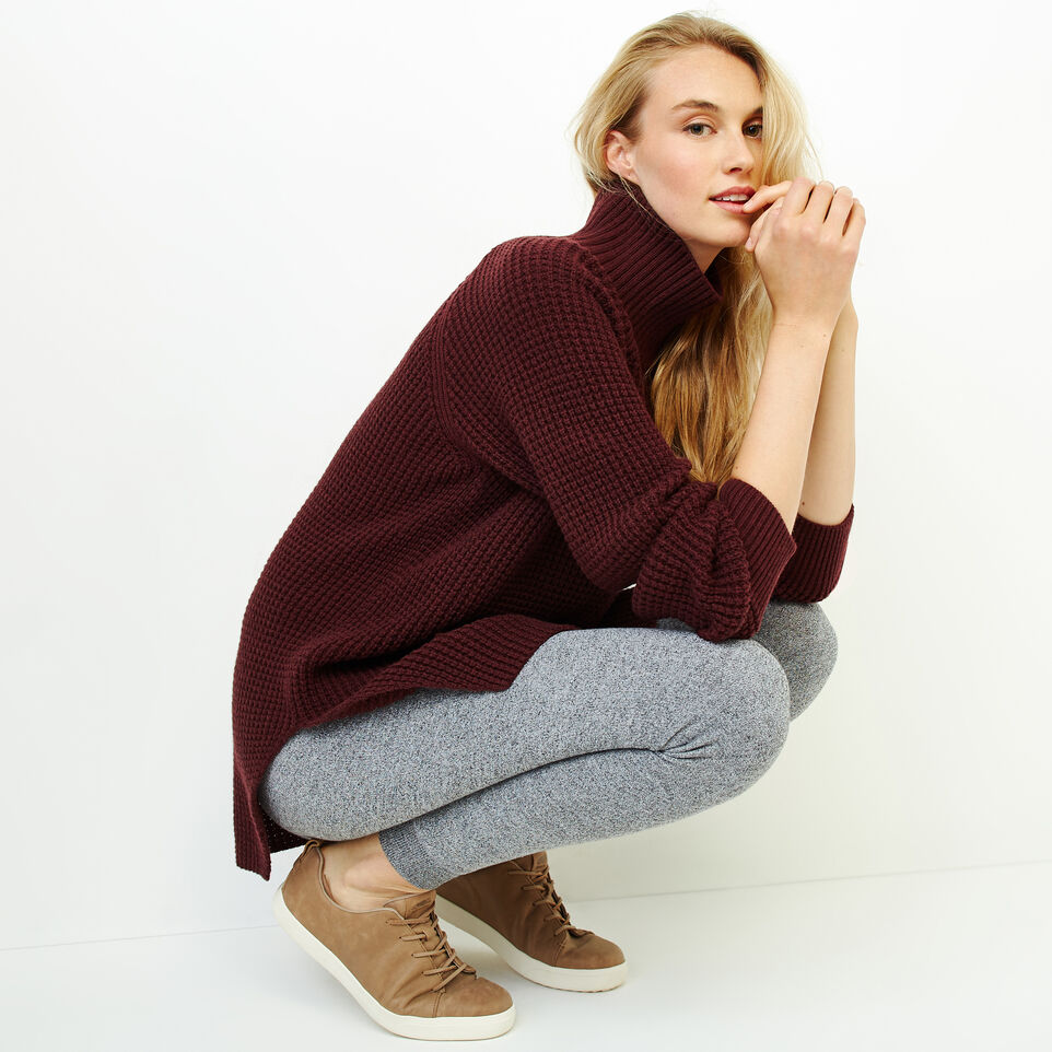 Roots-Women Sweaters & Cardigans-Fraser Waffle Sweater-Crimson Mix-B