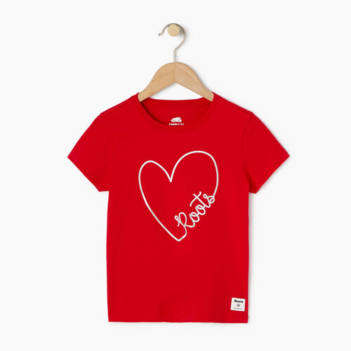 Roots-Kids Our Favourite New Arrivals-Girls Amore T-shirt-Racing Red-A
