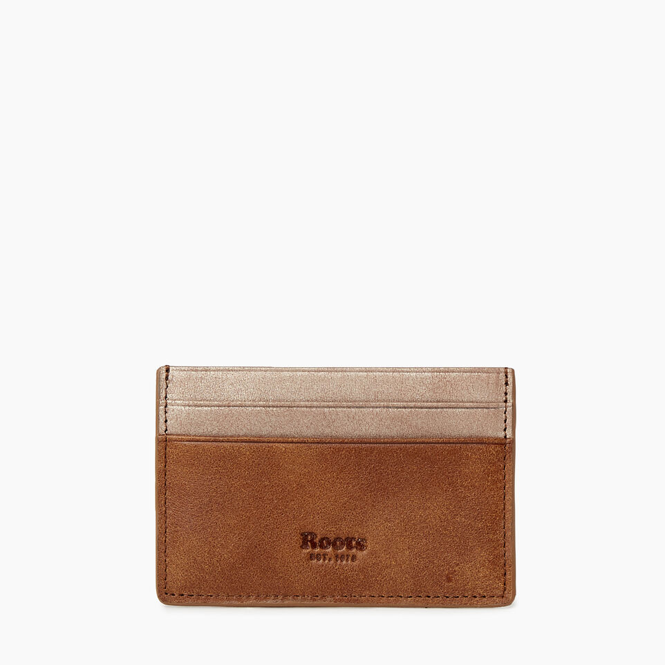 Roots-Women Categories-Card Holder-Champagne/ Natural-A
