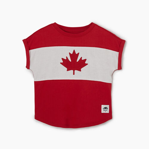 Roots-Kids New Arrivals-Toddler Blazon T-shirt-Sage Red-A