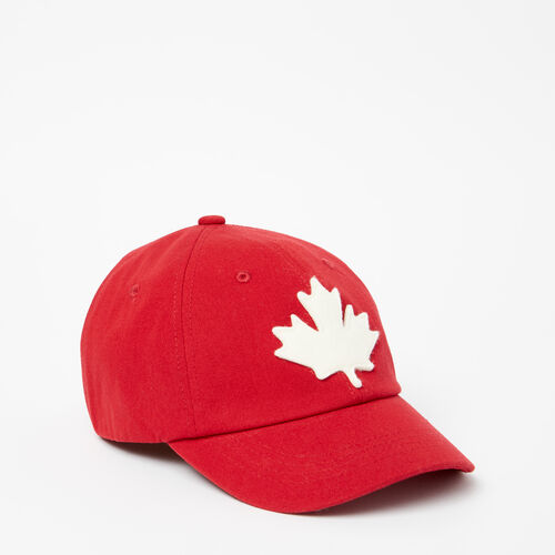 Roots-Clearance Kids-Kids Canada Leaf Baseball Cap-Sage Red-A