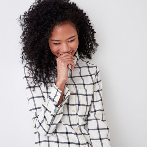 Roots-Women Shirts-Nora Flannel Shirt-Pristine White-A