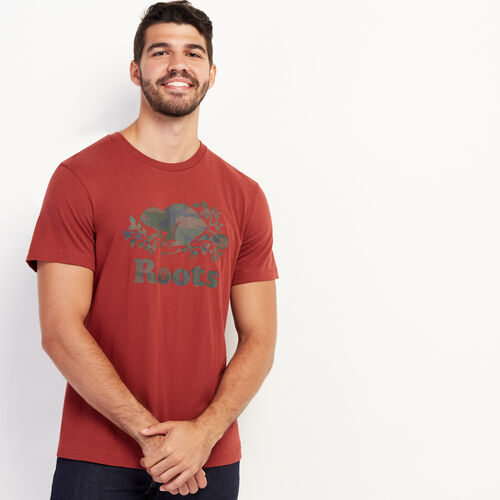 Roots-Sale Tops-Mens Cooper Camo Fill T-shirt-Russet Brown-A