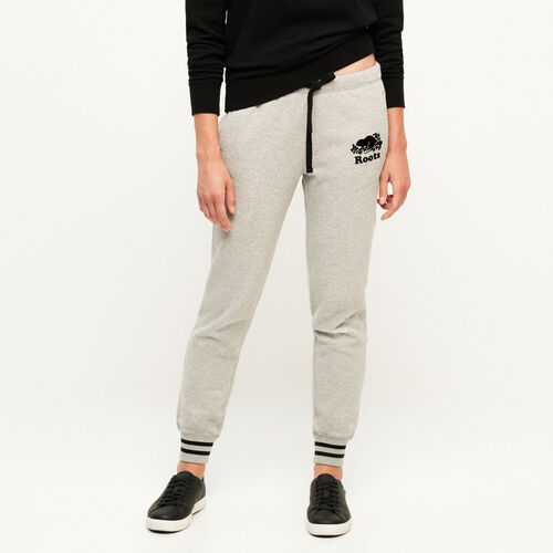 Roots-Women Bottoms-Varsity Slim Cuff Sweatpant-Grey Mix-A
