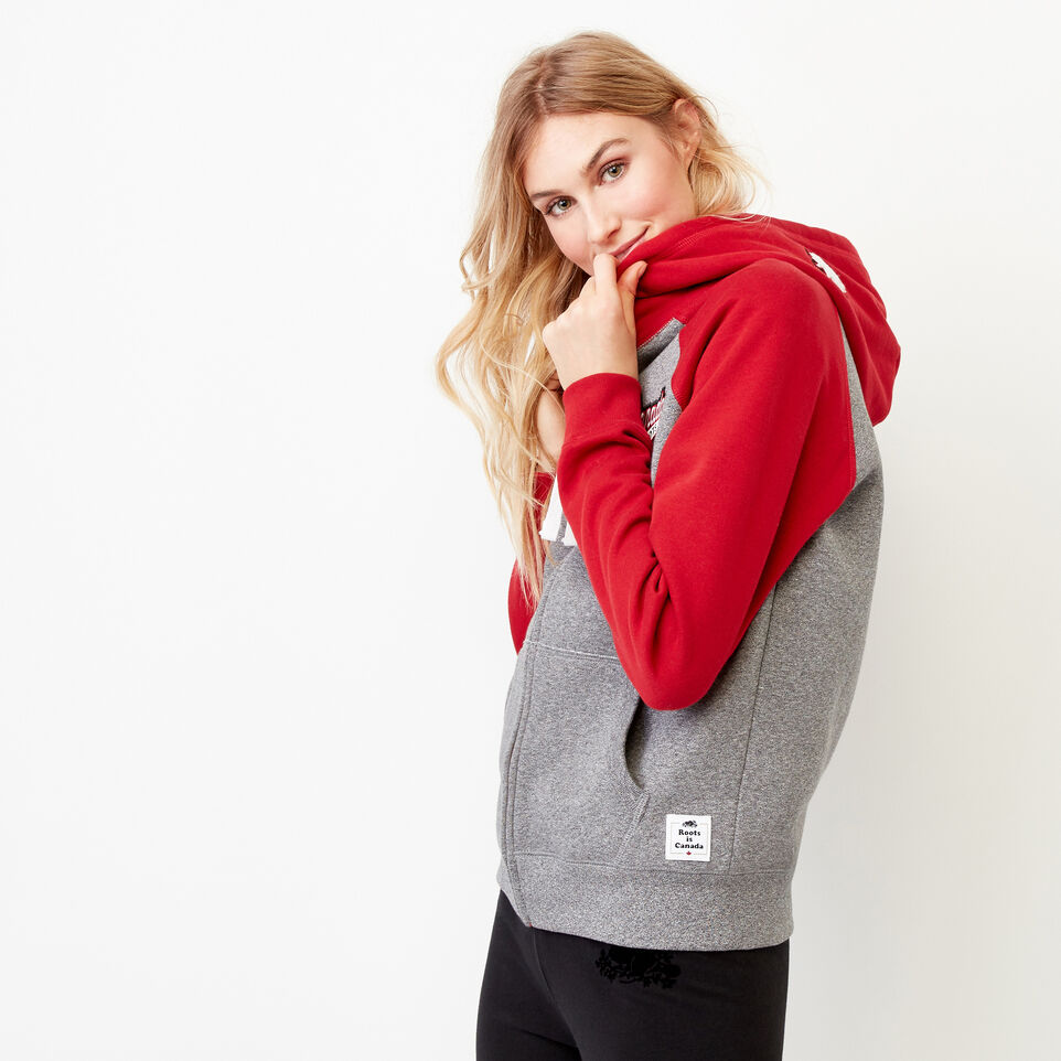 Roots-Women Our Favourite New Arrivals-Canada Full Zip Hoody-Salt & Pepper-C
