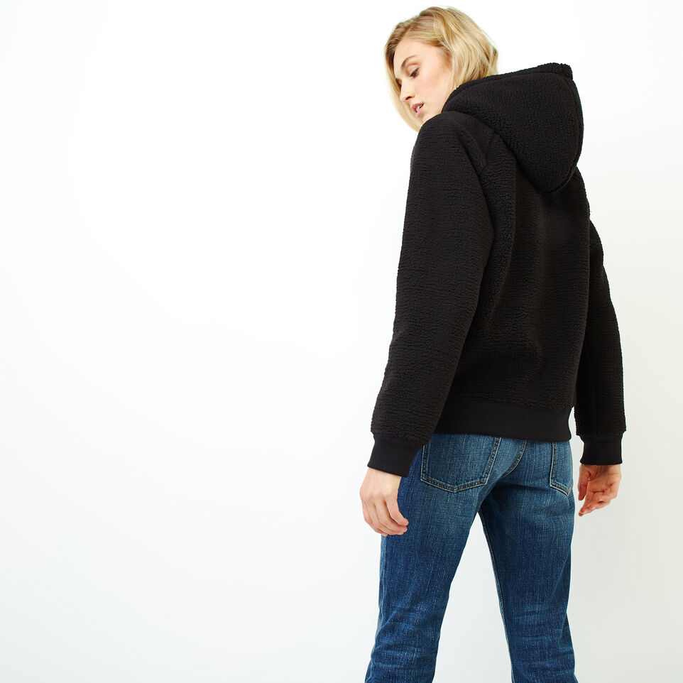 Roots-Women Clothing-Sherpa Hoody-Black-D