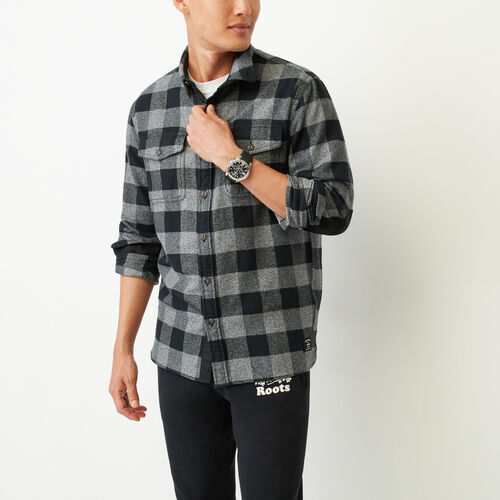 Roots-Men Tops-Park Plaid Shirt-Salt & Pepper-A