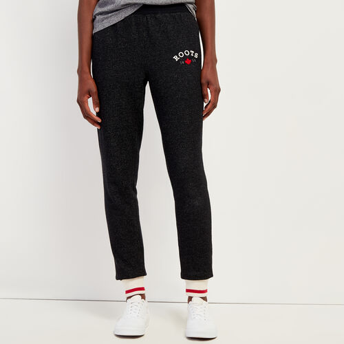 Roots-Women Slim Sweatpants-Cabin Slim Cuff Sweatpant-Black Pepper-A