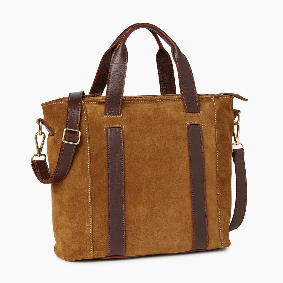Roots-Leather Handbags-Victoria Tote Suede-Tan-A