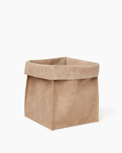 Roots-Articles En Cuir Maison Roots-Grand panier en cuir Tribe-Sable-A