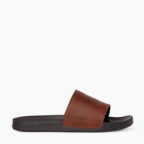 Roots-Footwear New Arrivals-Mens Long Point Leather Slide-Barley-A