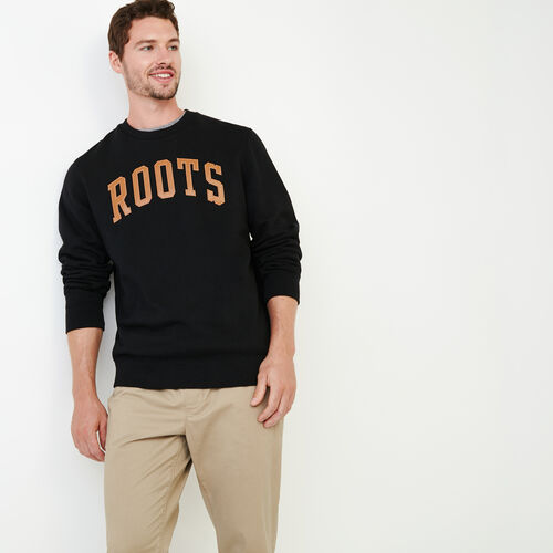 Roots-Men Sweats-Roots Arch Crew Sweatshirt-Black-A