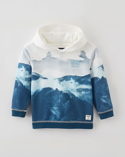 Roots-Kids Tops-Toddler Lake Print Oversized Hoody-Egret-A