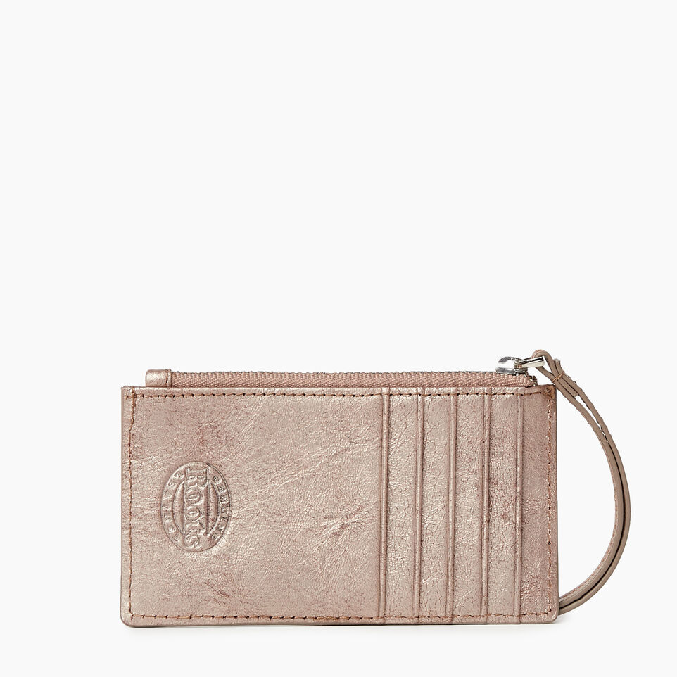 Roots-Leather Our Favourite New Arrivals-Medium Card Wristlet-Champagne-B