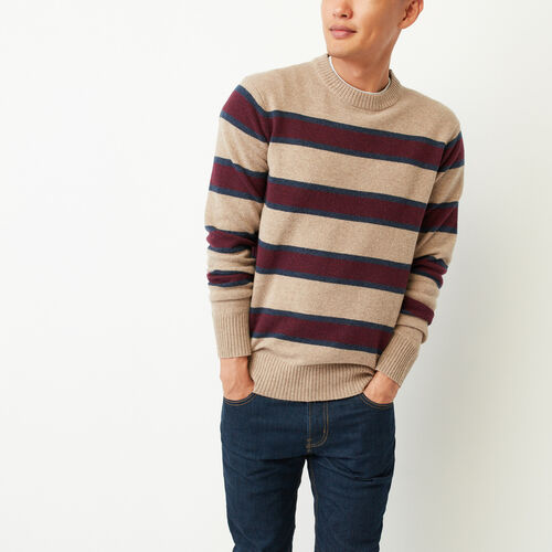 Roots-Winter Sale Men-Budman Merino Sweater-Camel Mix-A