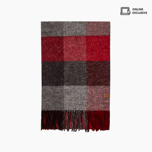 Roots-Sale Accessories-Tricoloured Plaid Scarf-Cabin Red-A