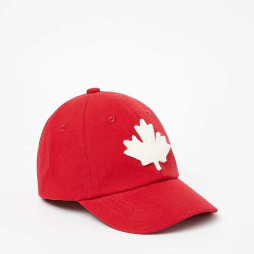 Roots-Kids Accessories-Toddler Canada Leaf Baseball Cap-Sage Red-A