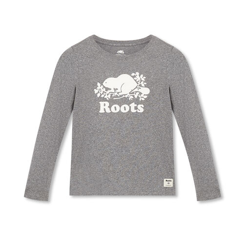Roots-Kids Tops-Girls Original Cooper Beaver T-shirt-Salt & Pepper-A
