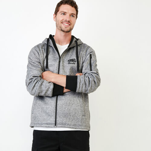 Roots-New For November Men-Logan Bonded Zip Hoody-Salt & Pepper-A