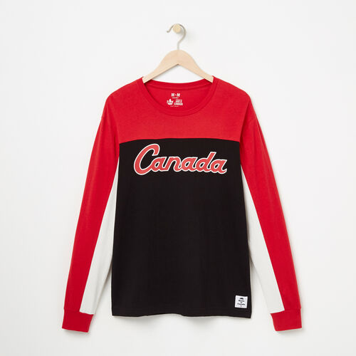 Roots-Men Collections-Mens Canada Script Long Sleeve T-shirt-Sage Red-A