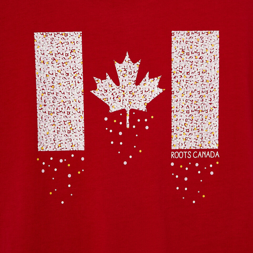 Roots-New For August Kids-Girls Confetti Canada T-shirt-Sage Red-D