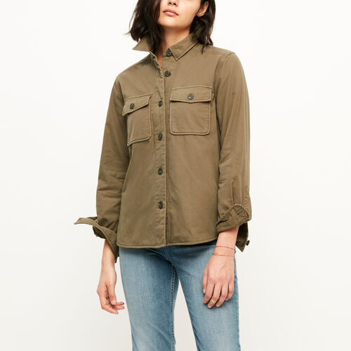 Roots-Sale Women-Maple Ridge Shacket-Dark Olive Green-A