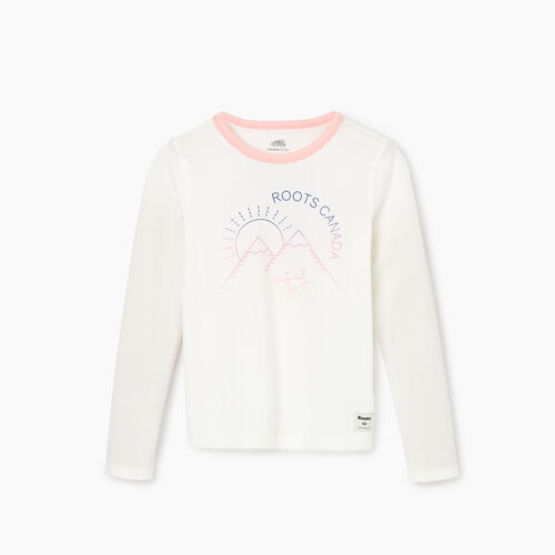 Roots-Kids Tops-Girls Cycle T-shirt-Ivory-A