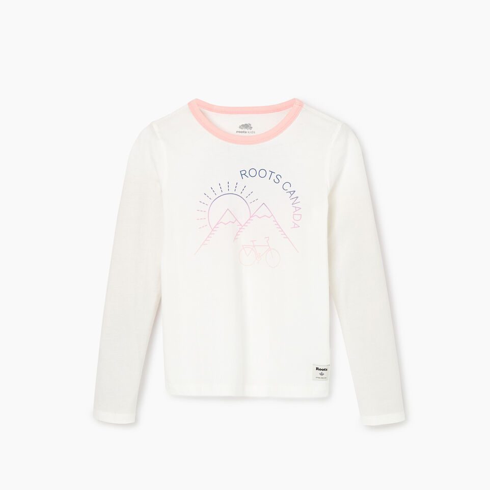 Roots-Kids New Arrivals-Girls Cycle T-shirt-Ivory-A