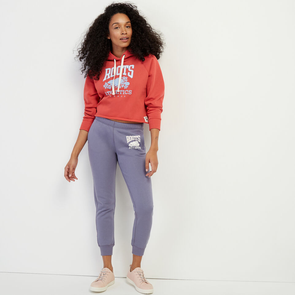 Roots-Women New Arrivals-RBA Cropped Hoody-Cranberry-B