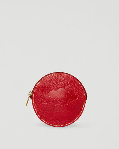 Roots-Leather Leather Accessories-Floral Coin Pouch Prince-Red-A