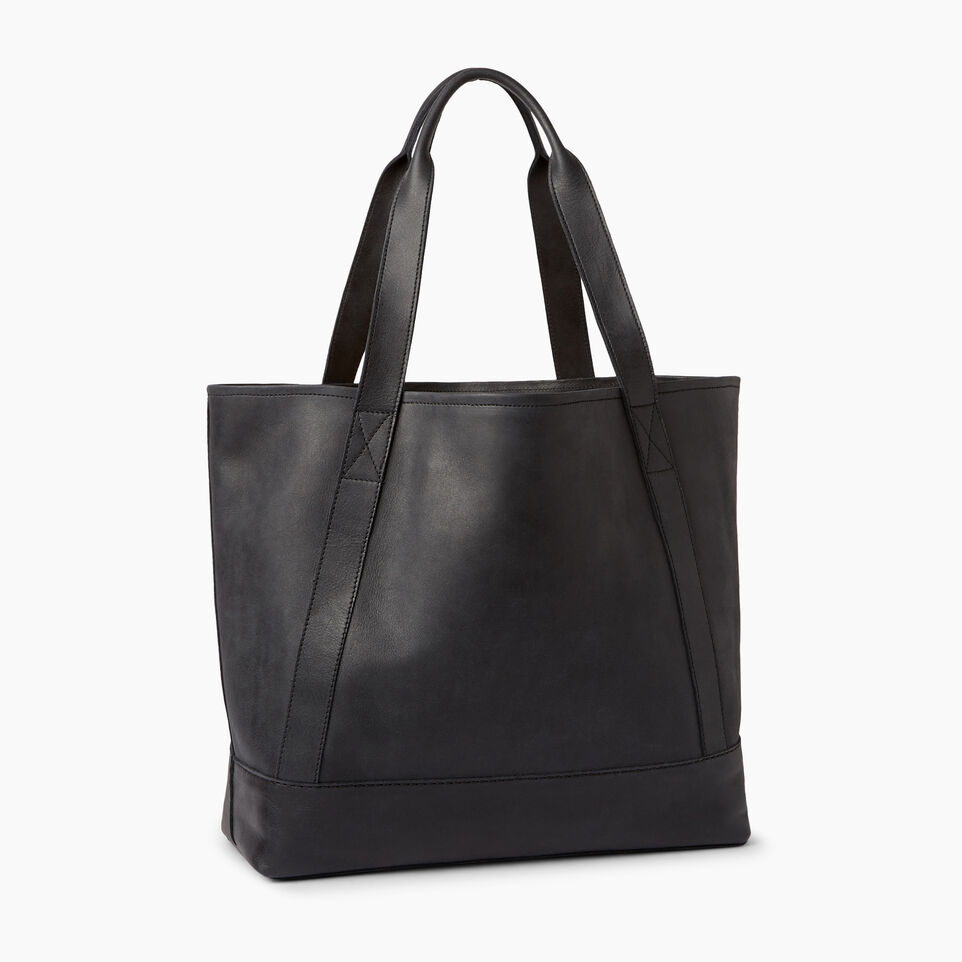 Roots-Leather  Handcrafted By Us Handbags-Muskoka Tote-Jet Black-C