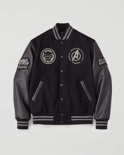 Roots-Leather Men's Award Jackets-Avengers Black Panther Award Jacket-Black-A