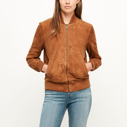 Roots-Leather Leather Jackets-Commander Jacket Suede-Tan-A